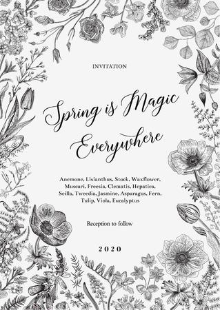 Magie du printemps. Invitation. Illustration vintage de vecteur. Noir et blanc Vecteurs