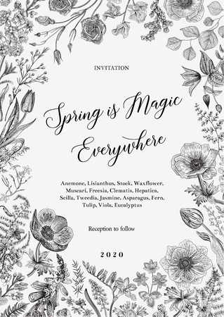 Spring magic. Invitation. Vector vintage illustration. Black and white