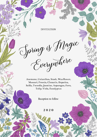 Spring magic. Invitation. Blue and purple flowers. Vector vintage illustration.