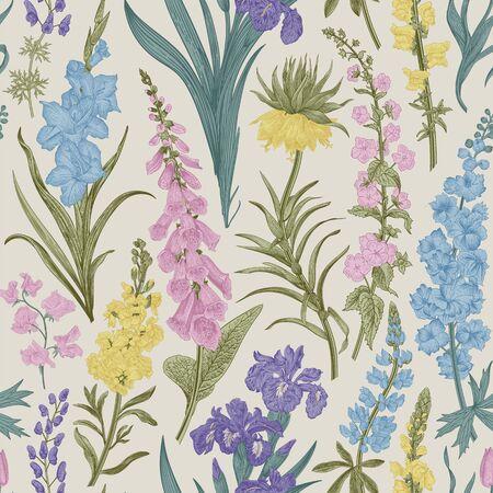 Lovely Garden. Vintage seamless pattern. Spring and summer garden flowers
