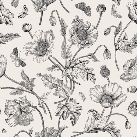 Vintage floral illustration. Seamless pattern. Poppies with butterflies. Black and white