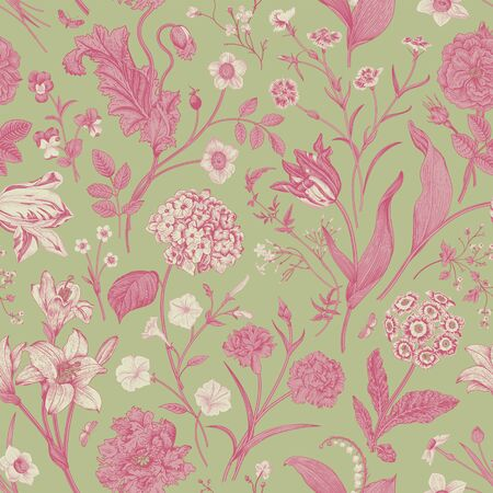 Seamless vector vintage floral pattern. Classic illustration. Mint and pink. Toile de Jouy Ilustracja