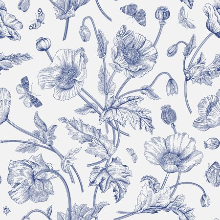 Vintage floral illustration. Seamless pattern. Poppies with butterflies. Blue and white  Ilustração