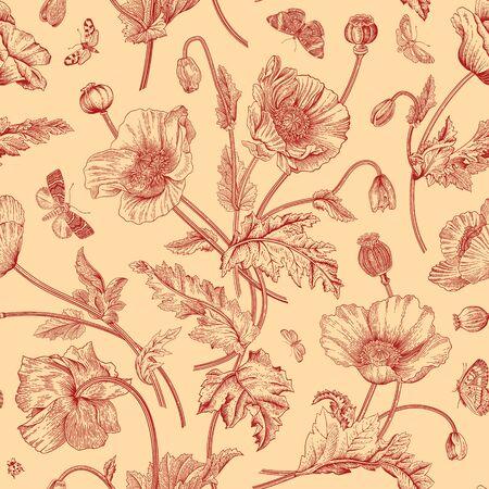 Uitstekende bloemenillustratie. Naadloze patroon. Papavers met vlinders. Rood en beige Vector Illustratie