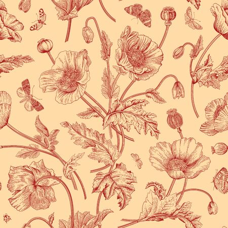 Vintage floral illustration. Seamless pattern. Poppies with butterflies. Red and beige