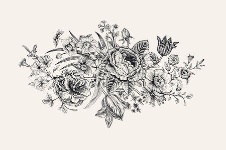 ヴィンテージ花のベクトルカード。ビクトリア朝のブーケ。クラシックボタニカルイラスト。白黒
