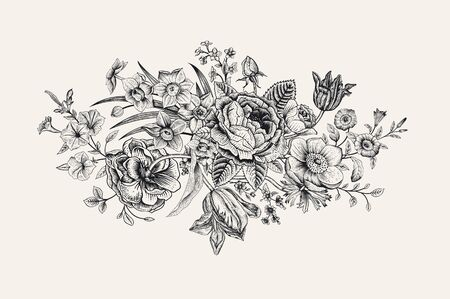 Vintage floral vector card. Victorian bouquet. Classic botanical illustration. Black and white Illustration
