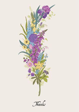 Lovely Garden. Flower feather. Vintage floral element. Spring and summer garden flowers