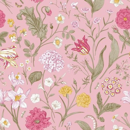 Seamless vector floral pattern. Shabby Chic. Classic illustration