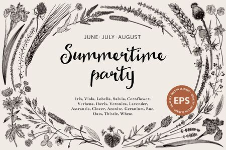 Summertime party. Floral horizontal card. Flowers and plants of fields and forests. Vector vintage botanical illustration. Black and white   Çizim