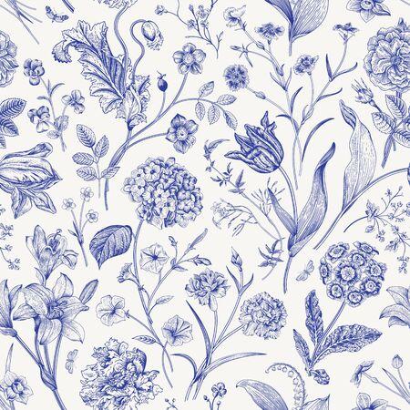 Patrón floral vector transparente. Ilustración clásica. Toile de Jouy