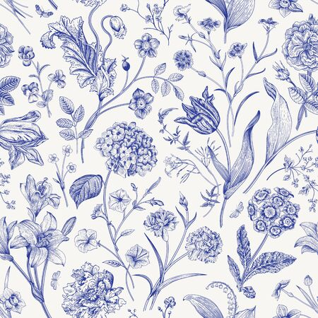 Seamless vector floral pattern. Classic illustration. Toile de Jouy 스톡 콘텐츠 - 133949828