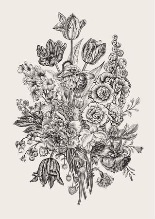 Victorian bouquet. Peonies, mallow, delphinium, roses, tulips, violets, petunia. Vector vintage illustration.  Black and white