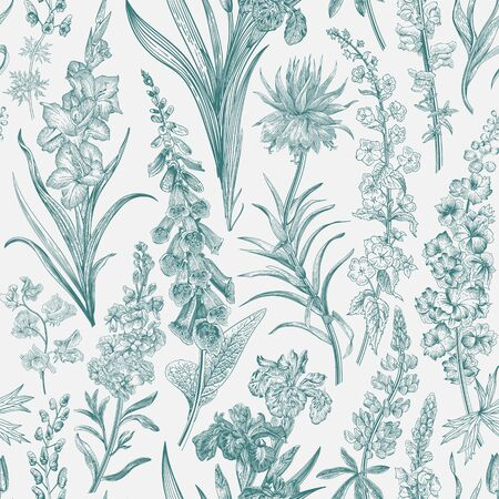 Lovely Garden. Vintage seamless pattern. Spring and summer garden flowers. Emerald and white. Toile de Jouy. 