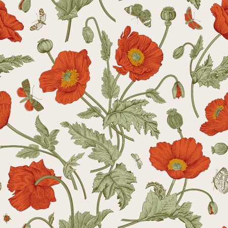 Vintage floral illustration. Seamless pattern. Red Poppies with butterflies.  Ilustração