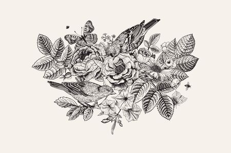 Vector vintage floral card in Victorian style. Roses, birds, butterflies. Black and white