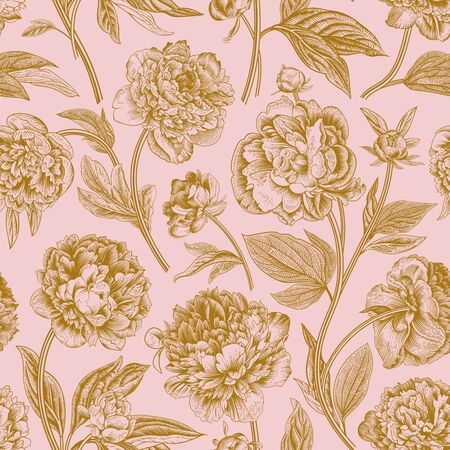 Seamless pattern. Classic peonies. Vector botanical illustration. Coral and gold Ilustração