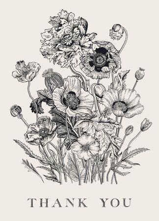 Vintage floral Bouquet Flowers Mohnblumen verschiedener Sorten. Schwarz und weiß. Vielen Dank