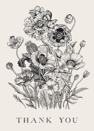 Vintage floral Bouquet Flowers Poppies of various varieties. Black and white. Thank you