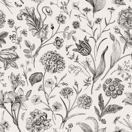 Seamless vector vintage floral pattern. Classic illustration. Black and white