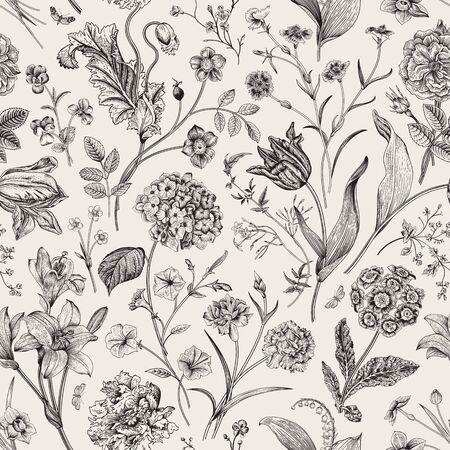 Seamless vector vintage floral pattern. Classic illustration. Black and white Foto de archivo - 133949850
