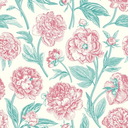 Seamless pattern. Classic peonies. Vector botanical illustration.