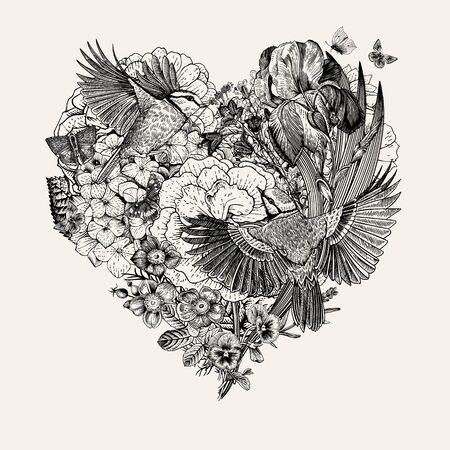 Composición vintage con flores, mariposas, pájaros en forma de corazón. Ilustración de vector. En blanco y negro