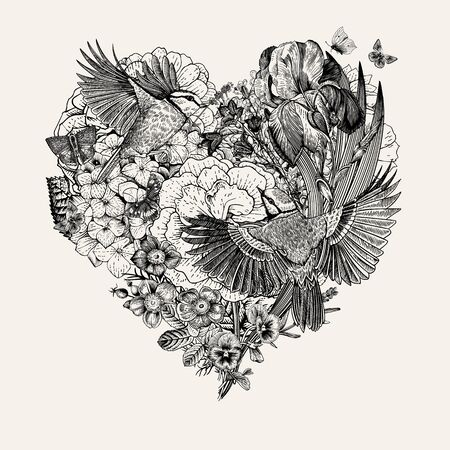 Vintage composition with flowers, butterflies, birds in the shape of a heart. Vector illustration. Black and white