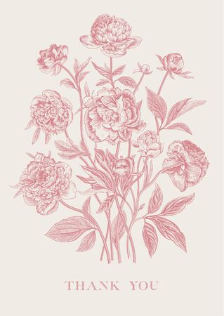 Vintage Flower arrangement Peonies. Coral. Greeting card. Thank you Illustration