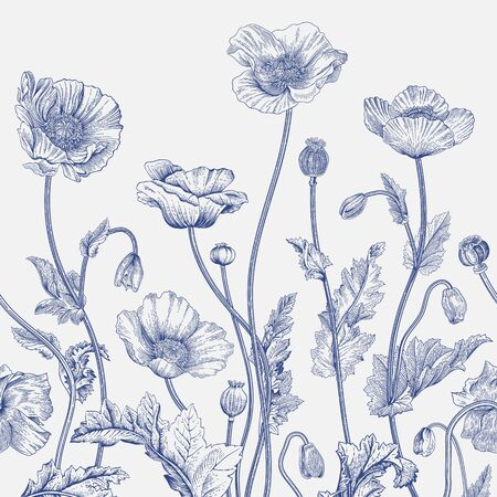 Vintage illustration. Seamless border. Blue and white.  Illustration
