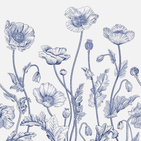 Vintage-Illustration. Nahtlose Grenze. Blau und weiß. Vektorgrafik