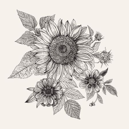 Vintage floral composition. Autumn. Sunflower, Dahlia and Zinnia. Black and white