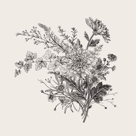 Autumn flowers. Classic flower arrangement. Vector botanical floral illustration. Black and white