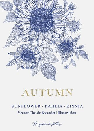 Vintage floral illustration. Wedding invitation. Autumn. Sunflower, Dahlia and Zinnia. Blue and white