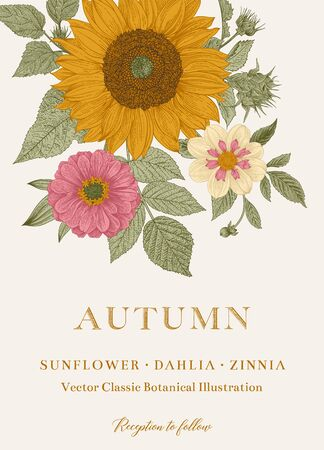 Vintage floral illustration. Wedding invitation. Autumn. Sunflower, Dahlia and Zinnia Ilustração