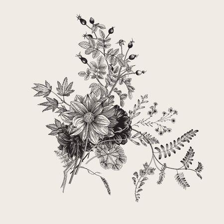 Autumn flowers. Classic flower arrangement. Vector botanical floral illustration. Black and white