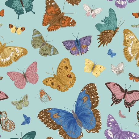 Butterflies. Seamless pattern. Vector vintage classic illustration. Colorful