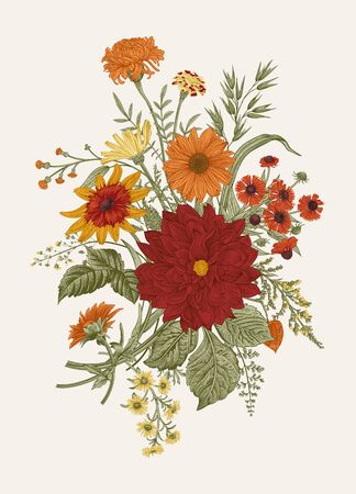 Autumn flowers. Classic flower arrangement. Vector botanical floral illustration. Colorful.  イラスト・ベクター素材