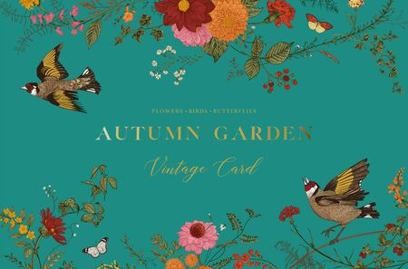 Autumn Garden. Vector horizontal card. Flowers, birds, butterflies 版權商用圖片 - 133951645