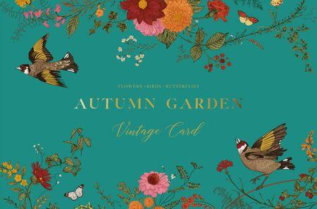 Autumn Garden. Vector horizontal card. Flowers, birds, butterflies