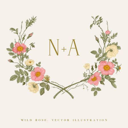 Wreath with wild roses. Wedding frame. Vector floral illustration.