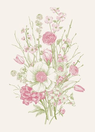 Bouquet. Spring Flowers and twig. Peonies, Spirea, Cherry Blossom, Dogwood. Vintage botanical illustration. Pink and green  イラスト・ベクター素材