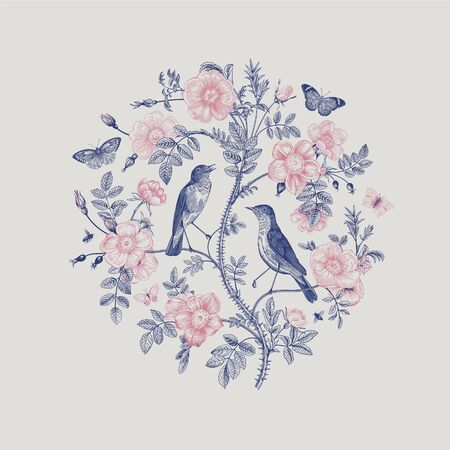 Birds and butterflies are in wild roses. Round Vector vintage classic floral composition. Blue and pink   イラスト・ベクター素材