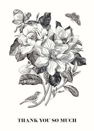 Magnolia. Spring here. Vector vintage botanical illustration. Thank you. Black and white