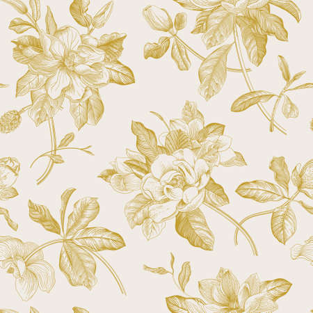 Magnolia grandiflora. Floral seamless pattern. Vector vintage botanical illustration. Gold