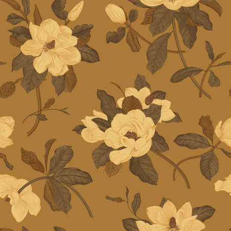 Magnolia grandiflora. Floral seamless pattern. Vector vintage botanical illustration. Brown