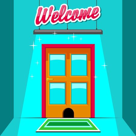 welcome sign: Welcome sign at the door