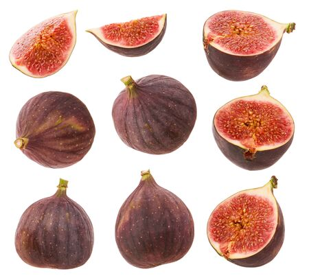 Figs isolated. Whole fresh ripe berry or fruit, half Fig and cut slice set isolated on white background with clipping path as package design element.