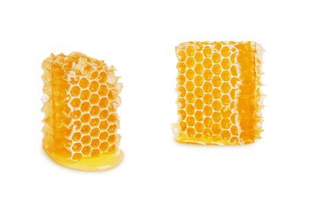 Honeycomb isolated on white background, close-up
