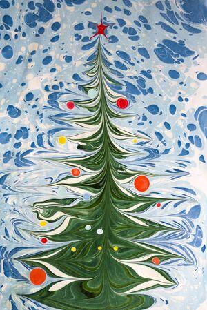 Christmas tree. Ebru Technique